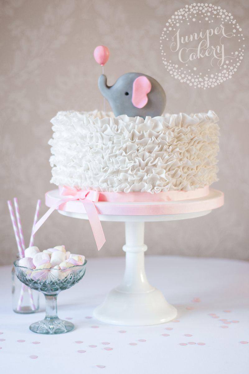 Pasteles Para Baby Shower Niño Elefante : pasteles, shower, niño, elefante, Elephant, Ruffle, Shower, Juniper, Cakery, Cake,, Decorations,, Pastel