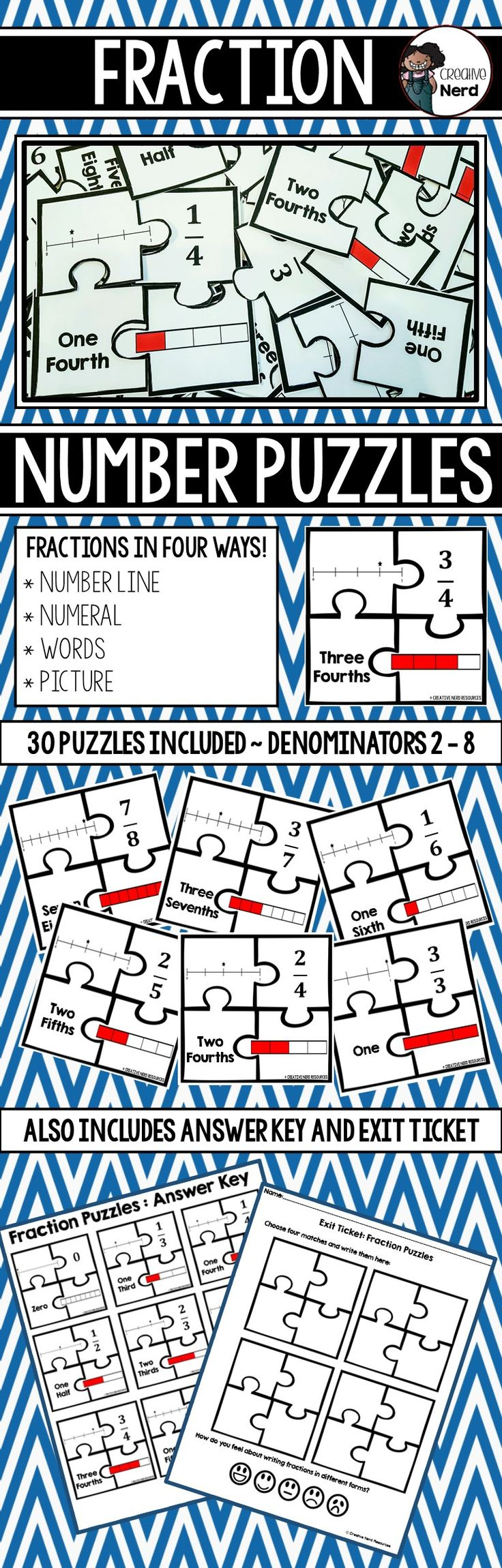 Fraction Number Puzzles (Match Fractions in Different Forms ...