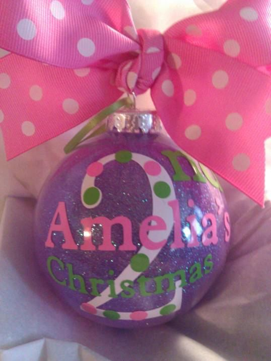 Babys 2nd Christmas Ornament Personalized Custom with Bow Ribbon 3rd ...