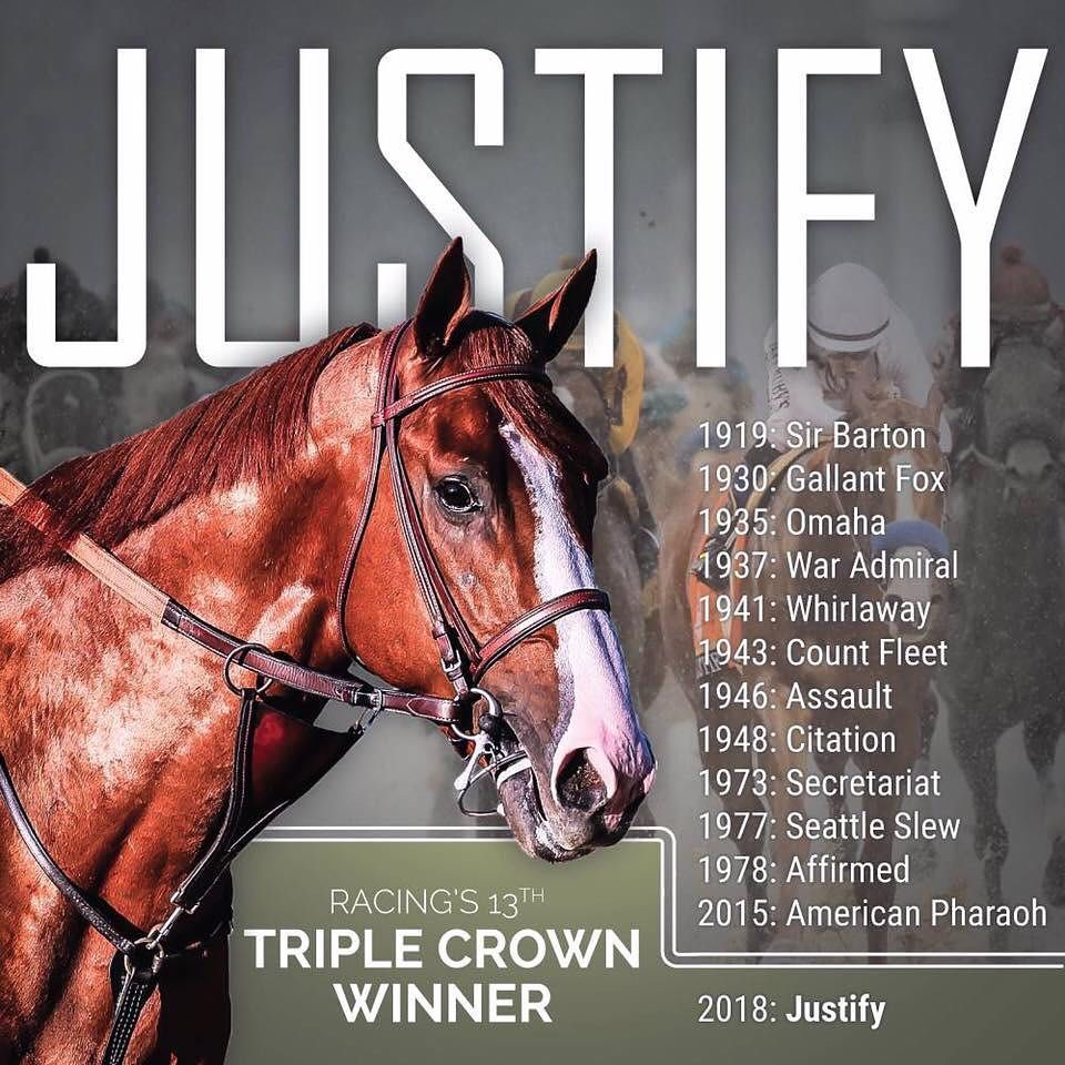 Yesterday I Got To Witness History In Person Thank You Justifyofficial And Congrats On Being The 13th Triple Crown Winn Beautiful Horses Pretty Horses Horses