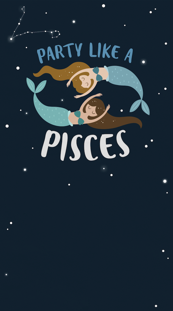 Party Like A Pisces Celebrate Your Zodiac Sign And All Your Horoscope Has To Offer With This Free Paperles Pisces Cute Backgrounds For Iphone Witchy Wallpaper