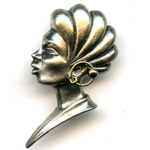 Vintage African Style Pin signed by ART by GreytVintage on Etsy, $55.00