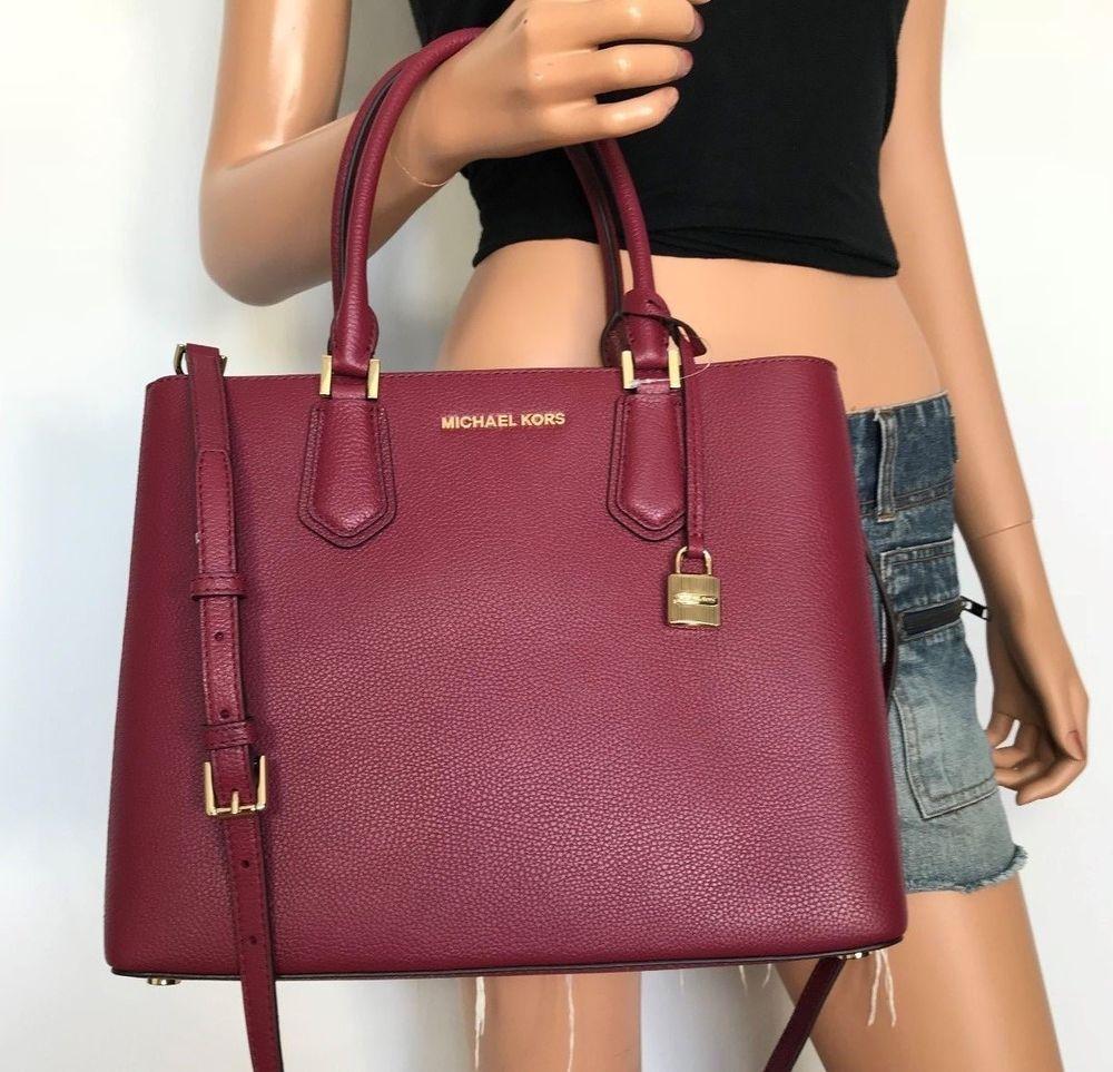 NWT Michael Kors Large Pebbled Leather Satchel Handbag