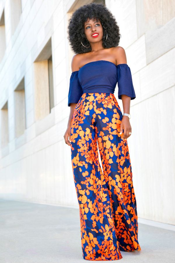 Style Pantry | Short Off-the-shoulder Top + Floral Print Wide Leg Pants