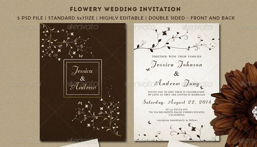 Beautiful Wedding Invitation Templates: 45 Beautiful Wedding Invitation PSD Templates