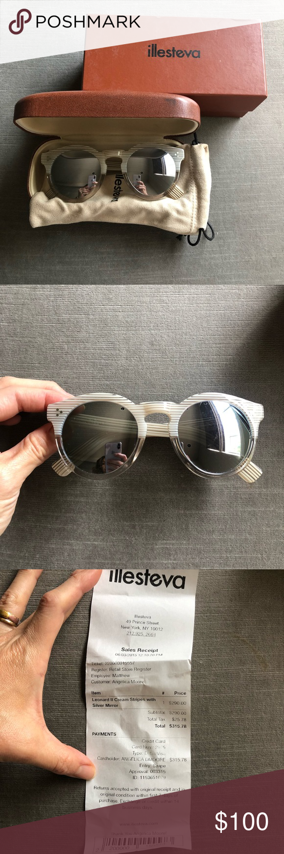 822e3f1bb7 Illesteva Leonard II cream stripes silver mirror Acetate frames with metal  wiring 50-23-140 in mm Includes leather hard case Revolve Style No.