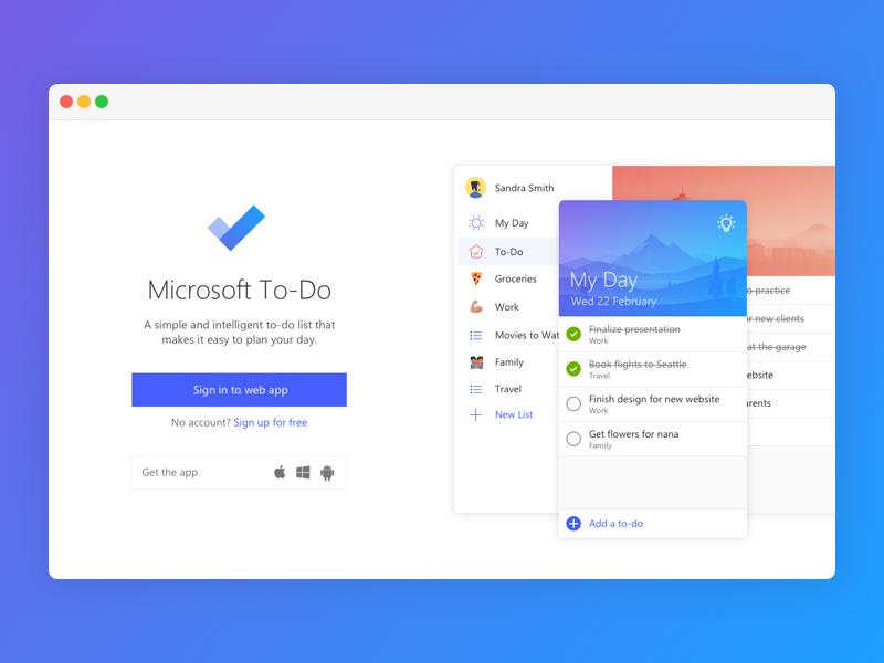 Microsoft ToDo Landing Page App landing page, Web