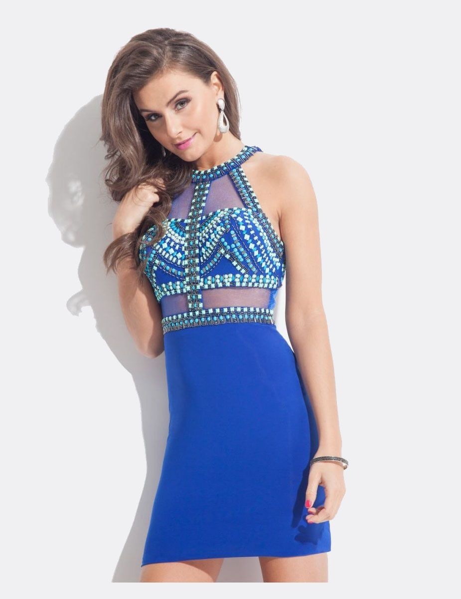 Royal Blue Short Tight Sexy Perlen Sheer Taille prom kleid ...