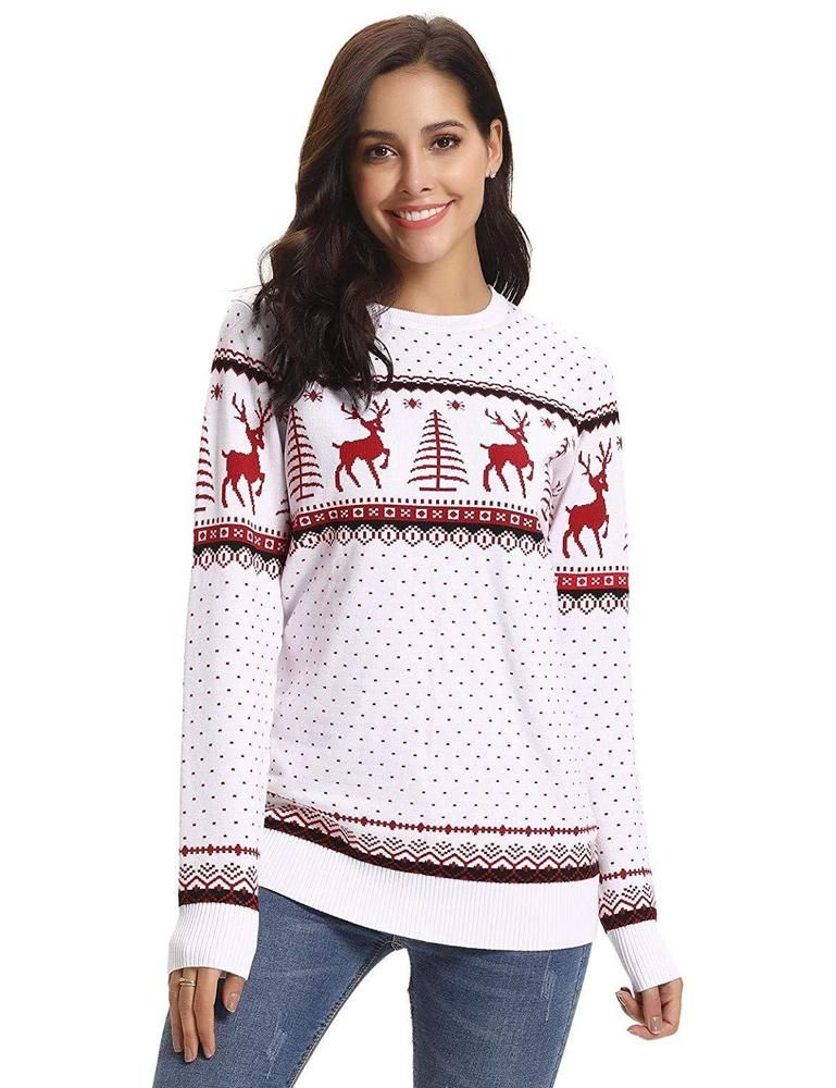 c3de8ee2d7 Aibrou Women Christmas Sweater Pullover Reindeer Tree Snowflakes Patterns   fashion  clothing  shoes  accessories  womensclothing  sweaters (ebay link)