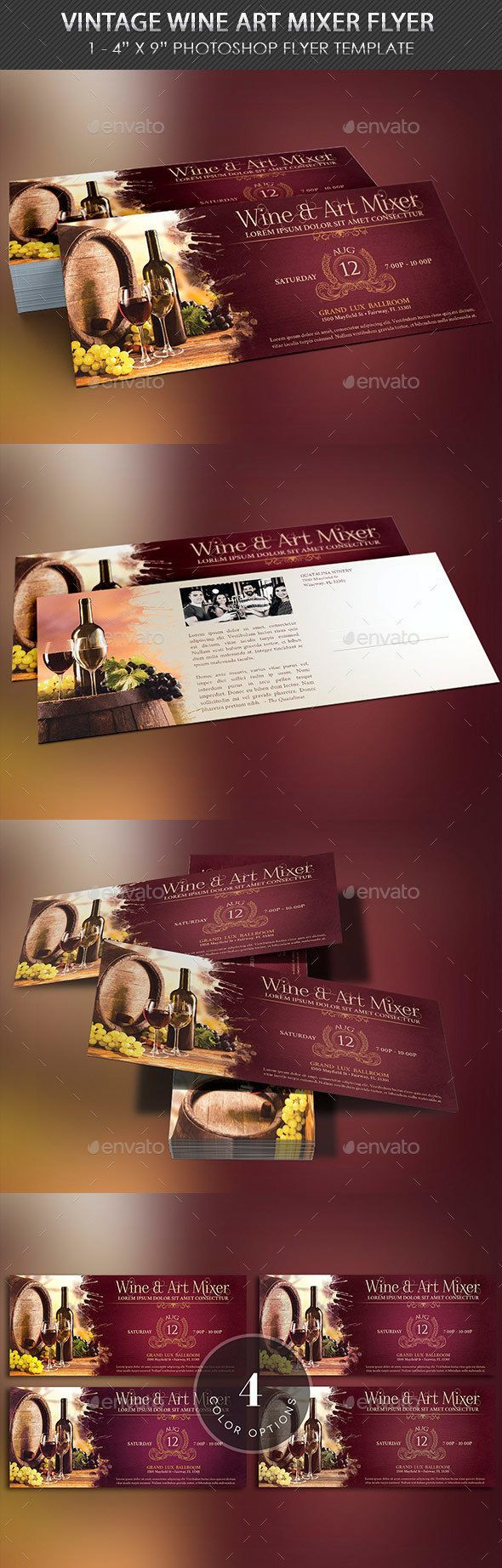 Vintage Wine Art Mixer Flyer Template Wine Art Vintage Wine Flyer Template