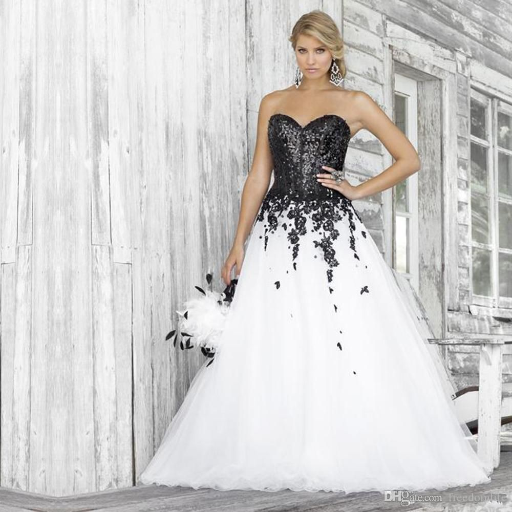 Discount Black And White Designs Wedding Dresses Sweetheart