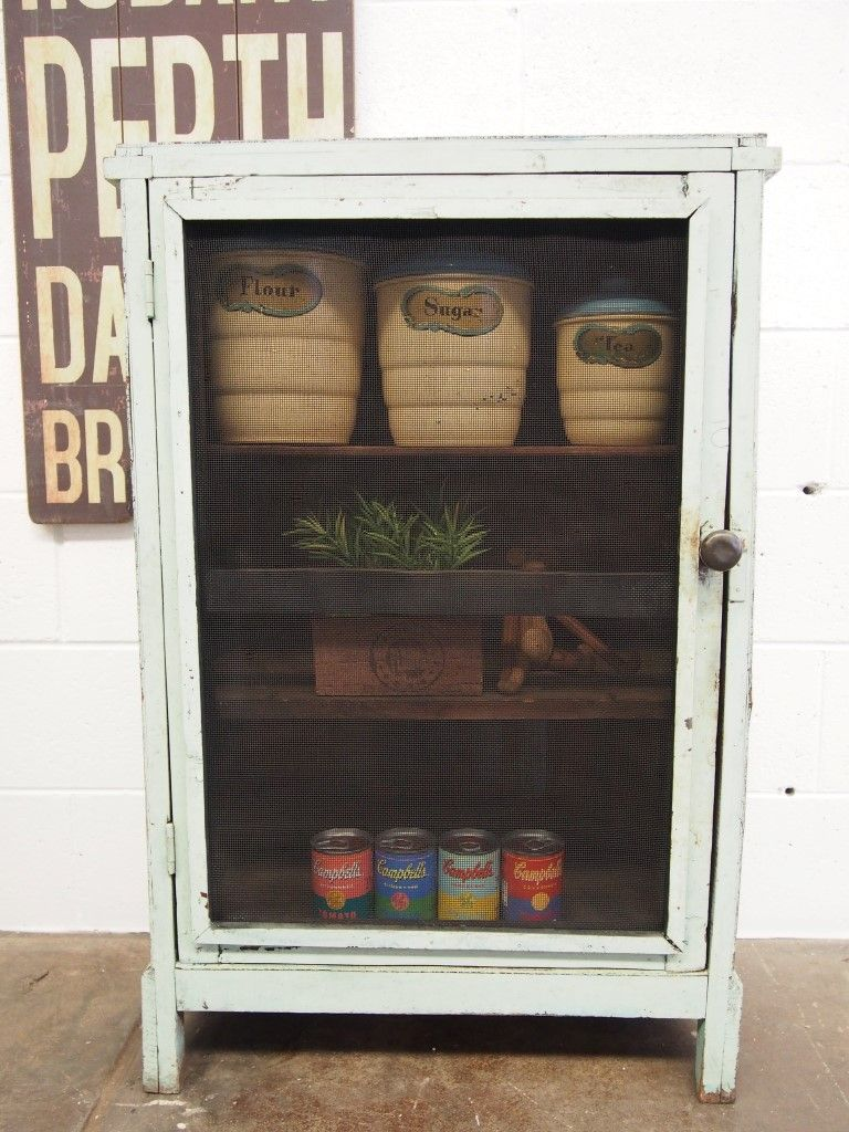 Antique Storage Cupboard | Antique Vintage Rustic Storage Cabinet Meat Safe  1920s Depression .