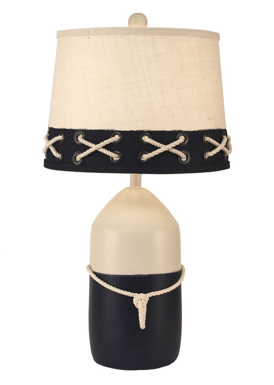 This New Tall Navy And White Round Large Buoy Shaped Decorative Nautical Table  Lamp With White Rope Accent Will Add A Finishing Touch To Your Seaworthy ...