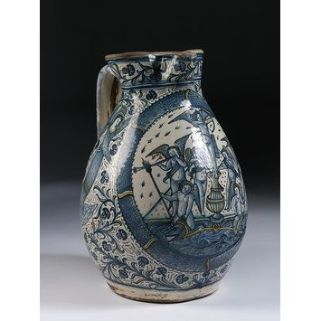 Jug Place of origin: Montelupo Fiorentino, Italy (Probably, made) Date: ca. 1480 (made) Artist/Maker: Unknown (production) Materials and Techniques: Tin-glazed earthenware painted with metal based colours Museum number: 1568-1855