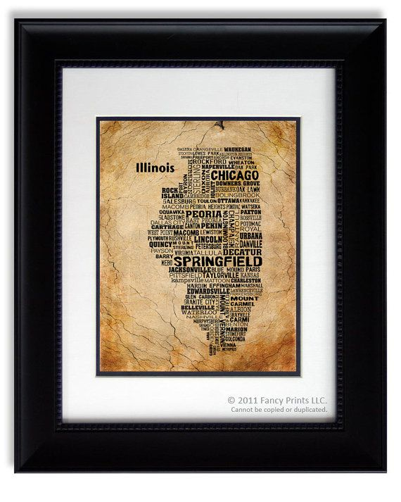 Valentines Day Gift For Him ILLINOIS Modern Print Unique Typography Poster Birthday Husband