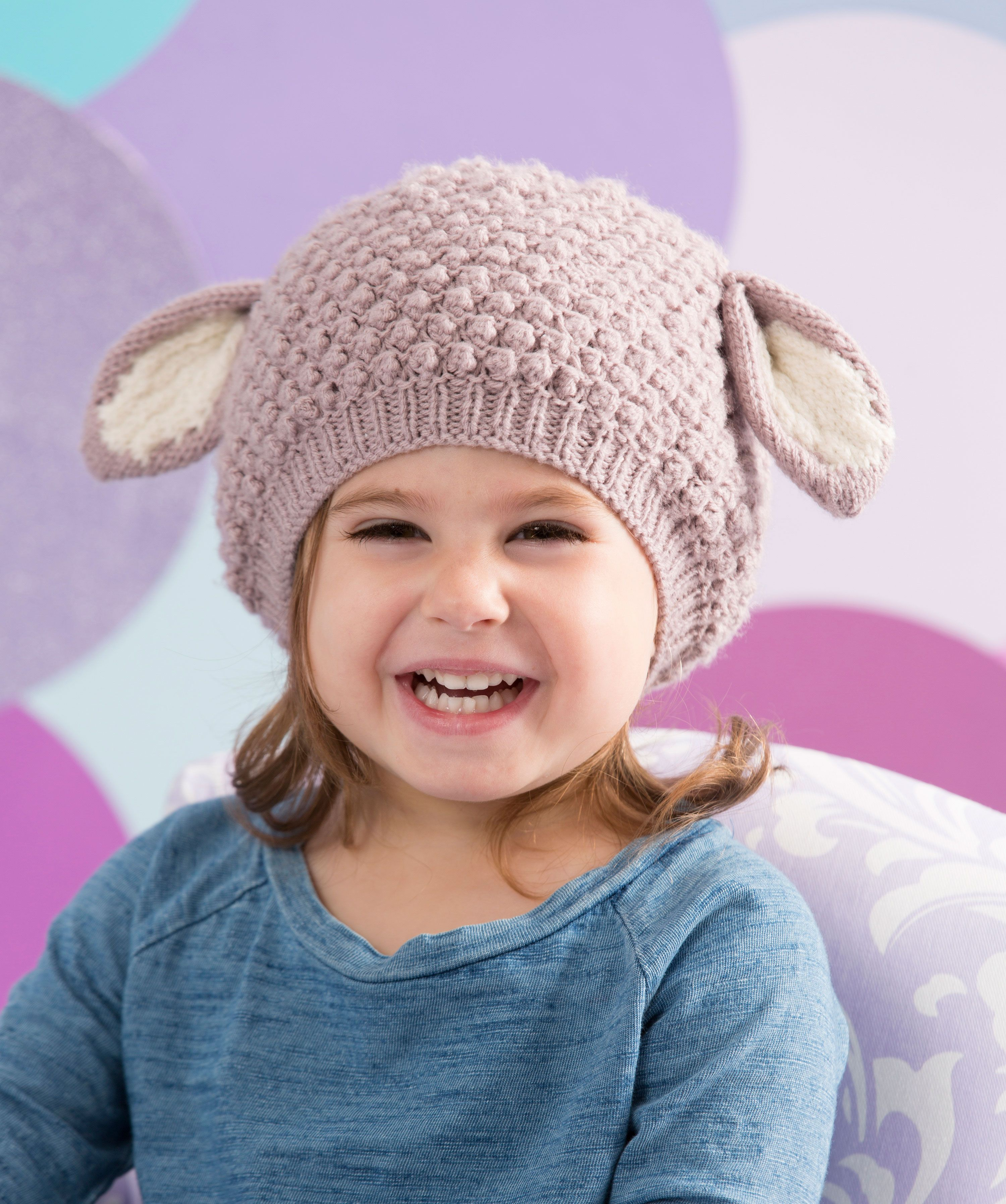 Knit this fun bobbled hat with ears and your little lamb will look ...