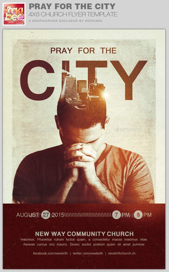 pray for the city church flyer template church marketing flyer
