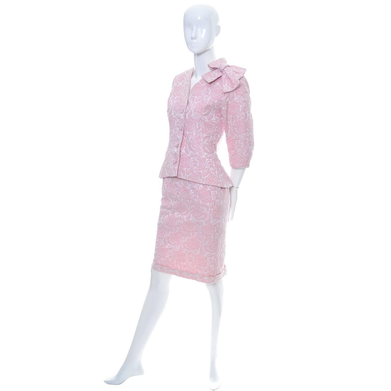 Guy Laroche Paris Vintage Pink Suit Skirt Blazer Bow 1990s Made in France