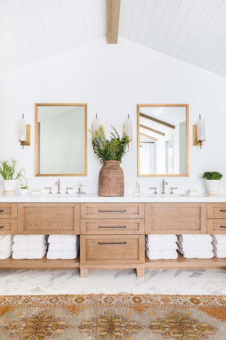 Light Wood Large Double Vanity With Open Shelving On Bottom Modern Traditional Bathroom Designinterior Bathroom Interior Design Home Bathroom Interior