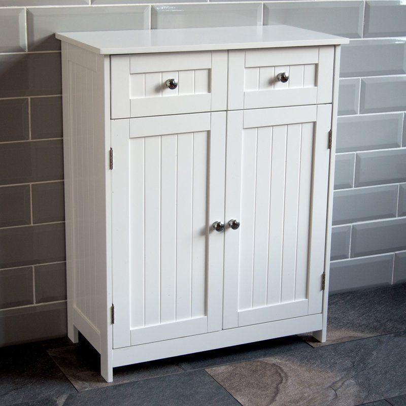 Wooden Free Standing Cabinet White 2 Doors 2 Drawers Storage Bathroom Furniture Cupboard Storage Wooden Bathroom Cabinets White Bathroom Cabinets