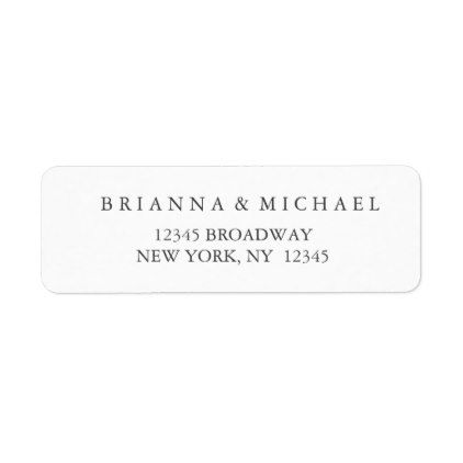Simple Black and White Wedding Return Address Label - script gifts