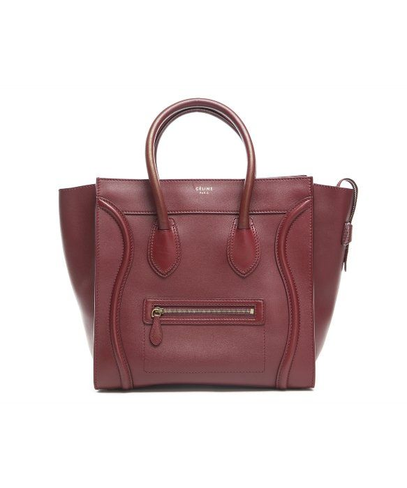 Celine Pre-Owned Celine Burgundy Calfskin Mini Luggage Tote Bag ... 99f2bc29625cd