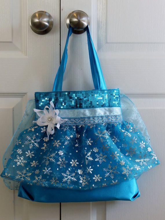 783e09107 Tote bag/Purse Silky Fabric Turquoise with Snowflake Cape on Back ...