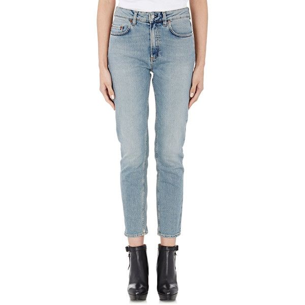 Acne Studios Crop Patti Skinny Jeans (€265) ❤ liked on Polyvore featuring jeans, blue, faded skinny jeans, highwaisted jeans, zipper skinny jeans, high waisted blue skinny jeans and blue jeans