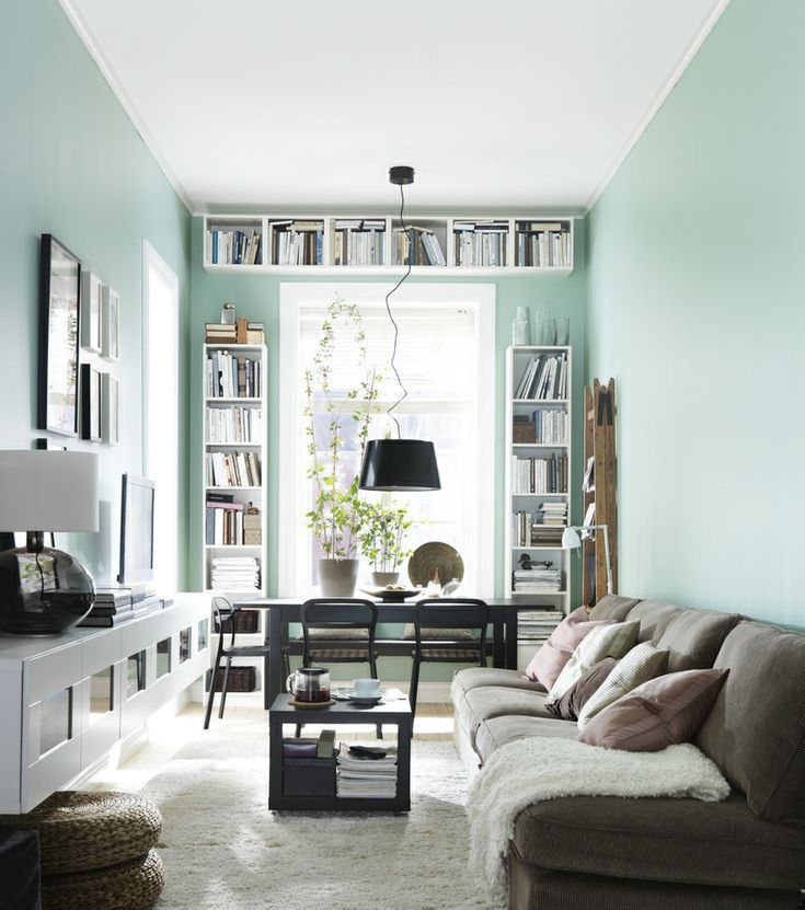 Perfect Narrow Living Room With Desk And Bookshelves At The Window
