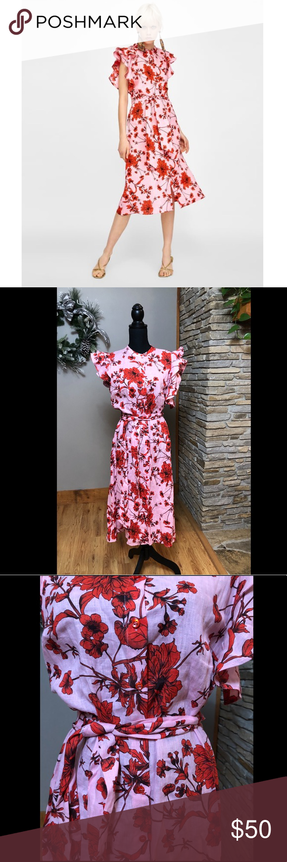 3de3a951c6d9 NWT Floral Print Linen Tunic Dress Stand-up collar tunic with short ruffled  sleeves, tied belt in matching fabric and button fastening in the front.  Zara ...
