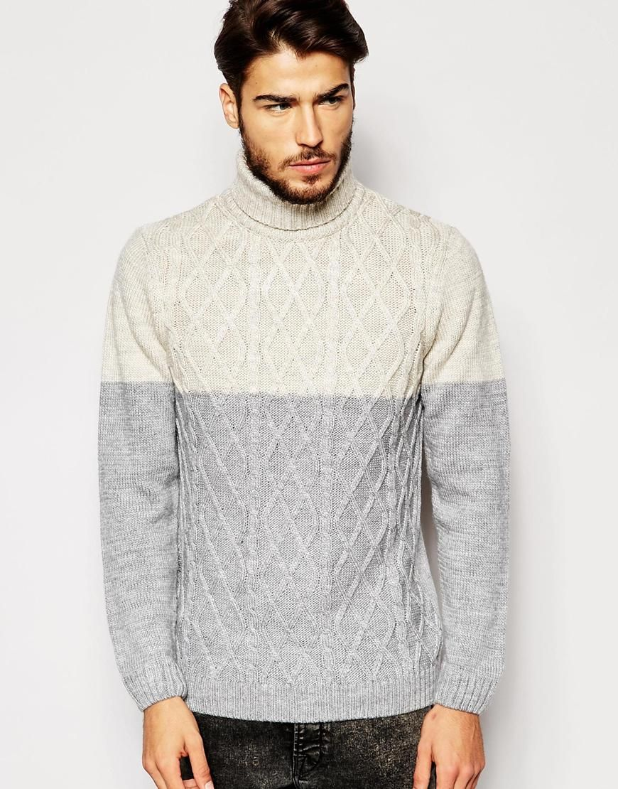 ASOS Roll Neck Jumper with Colour Block Cable
