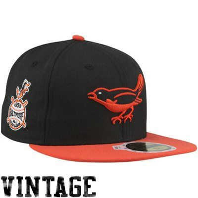 New Era Baltimore Orioles 1958 Cooperstown All-Star Patch 59FIFTY Fitted Hat  - Black Orange 16fffce7cb35