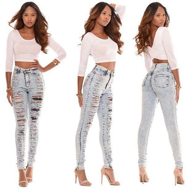 bigchipz.com high waisted distressed skinny jeans (38 ...