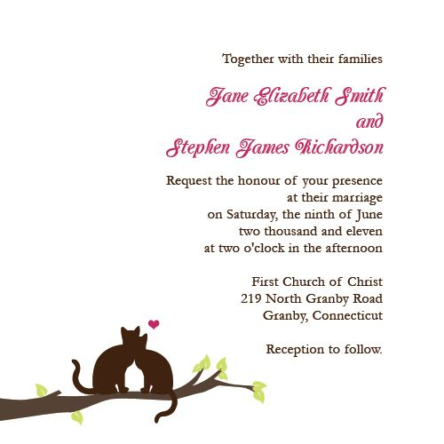 Free Wedding Invitation Template With Cats On Branch