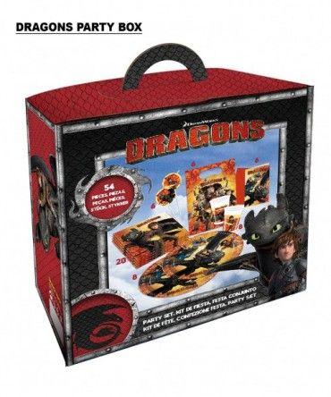 Kindergeburtstag Dragons Partybox 54 tlg.- Drachenparty