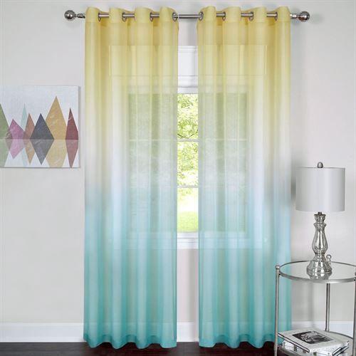 Rainbow Semi Sheer Turquoise Ombre Grommet Curtain Panel Yellow
