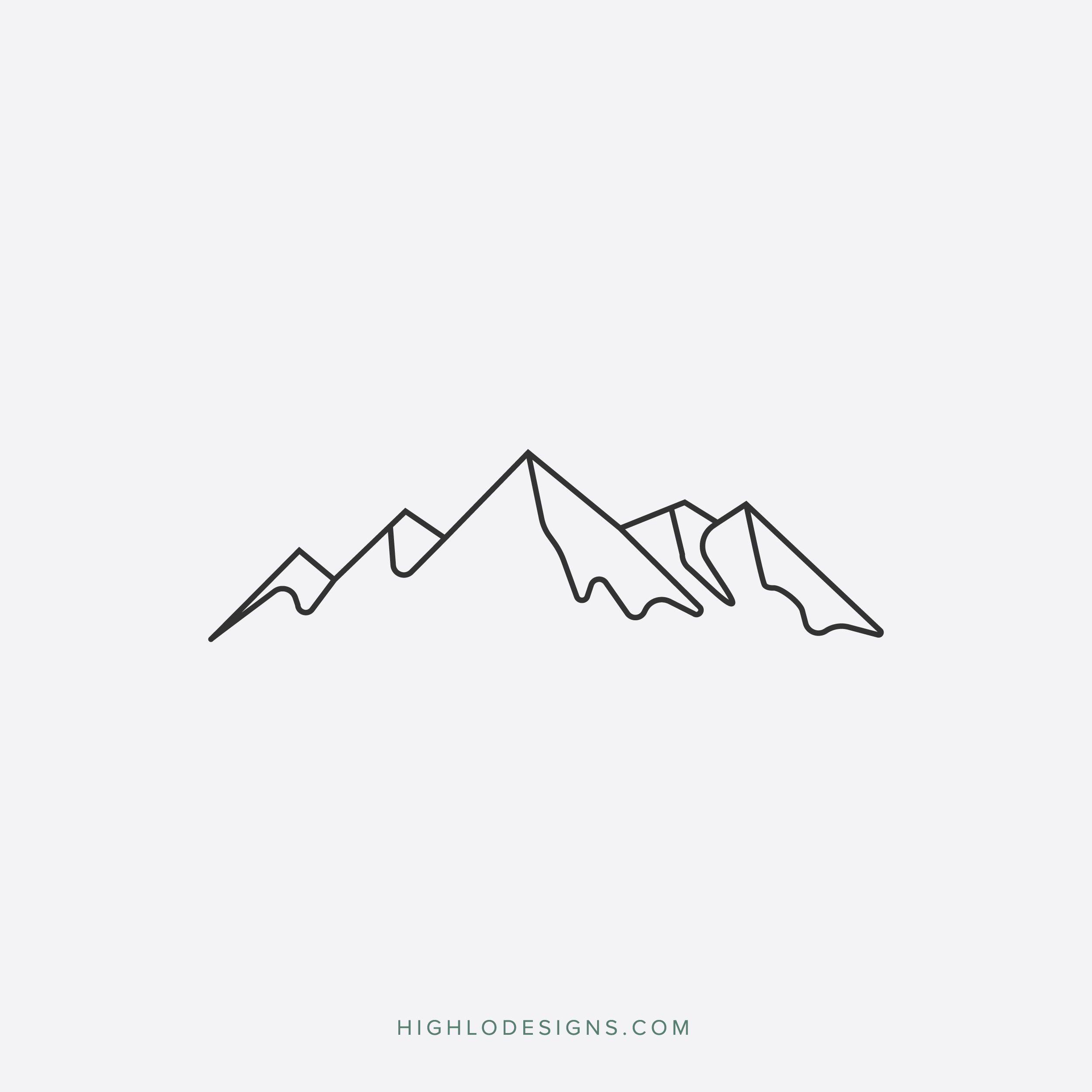 Outline Minimalist Outline Simple Mountain Tattoo - Best ...