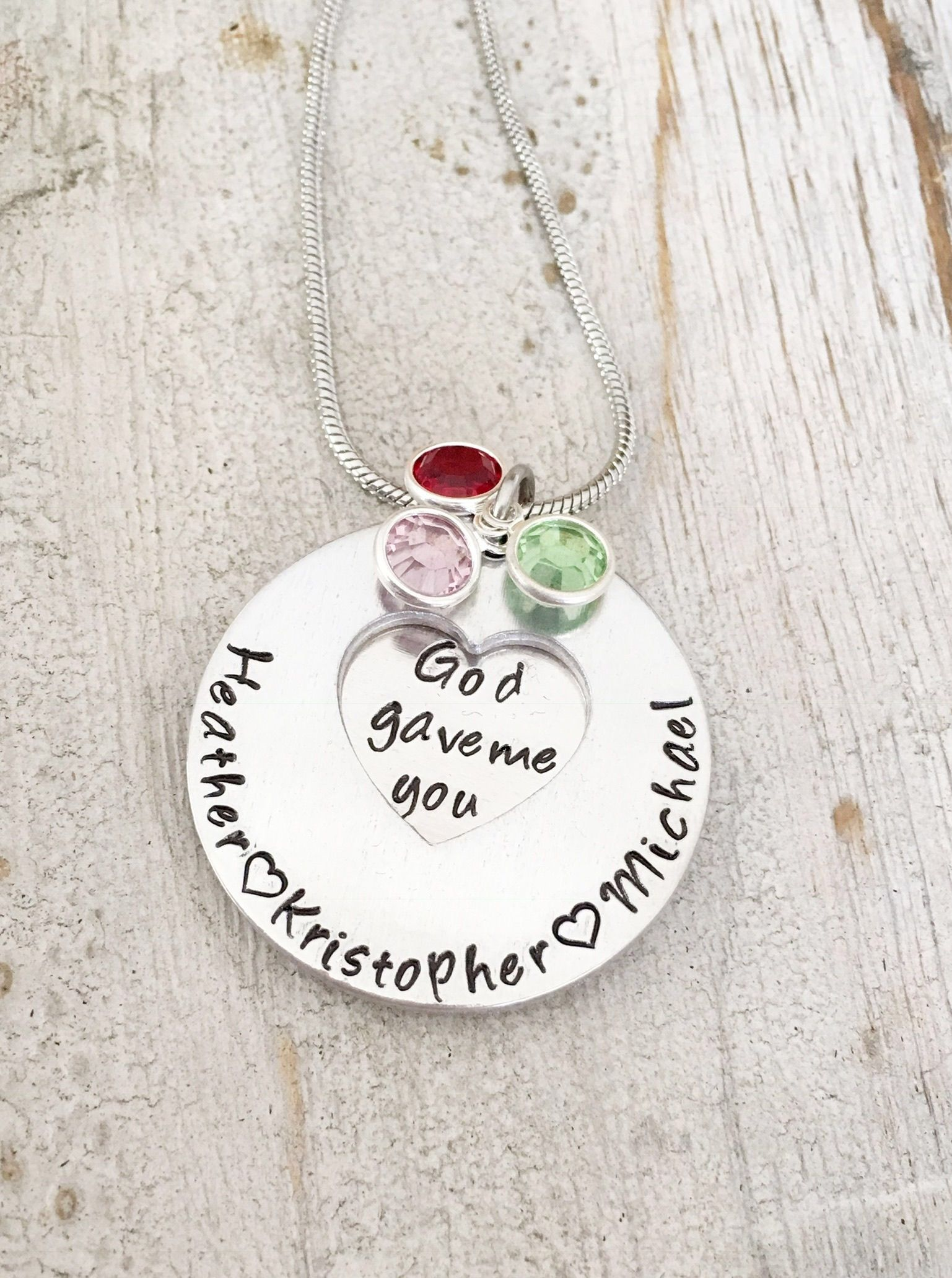 mothers heellilies necklace nana handstamped birthstone gift pin etsy personalized name kids on by christmas gifts grandkid grandma for