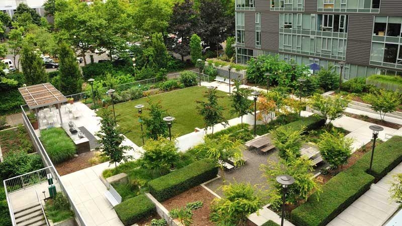 apartment building landscape