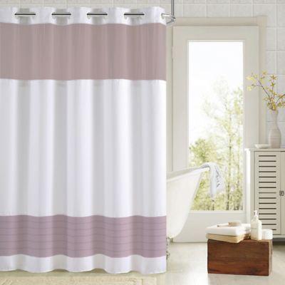 Hookless Aruba Pleats Color Block Shower Curtain In White