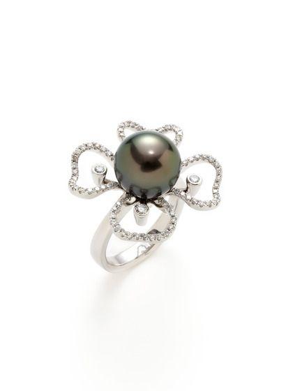 02a2673a7aff9 Tahitian Pearl & Diamond Floral Cutout Ring | Jewels | Pearl diamond ...