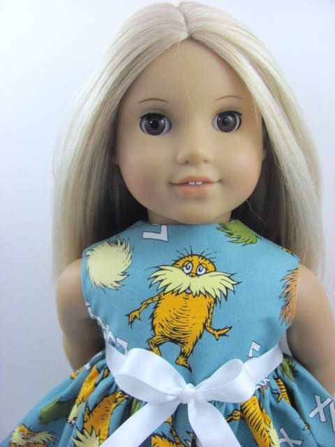 Organic Cotton Dr Seuss The Lorax  Dress for the American Girl Doll, $12.00