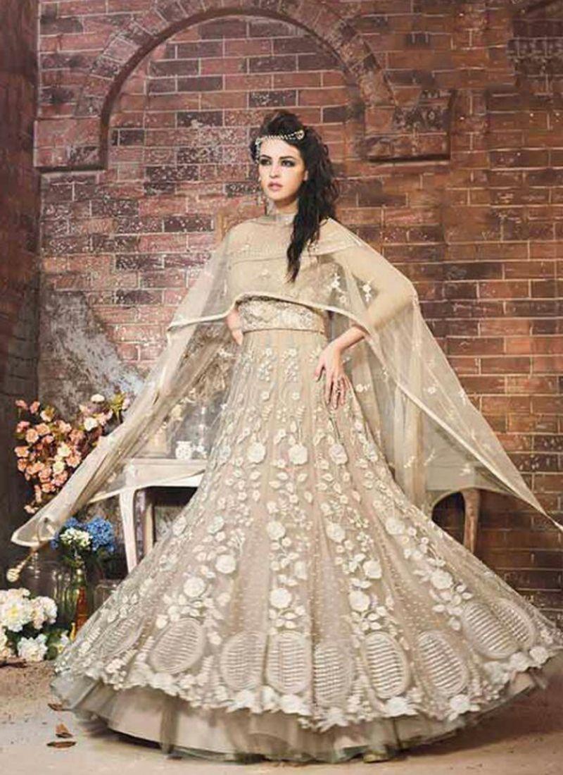 723aa8d38e8 Grey Net Party Wear Heavy Embroidery Work Anarkali Suit