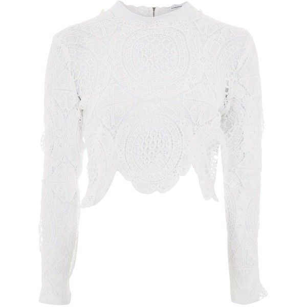 367deb7f45bd7d Crochet High Neck Blouse by Glamorous ($37) ❤ liked on Polyvore featuring  tops, blouses, white, crop top, crochet blouse, white crochet top, high  neck crop ...
