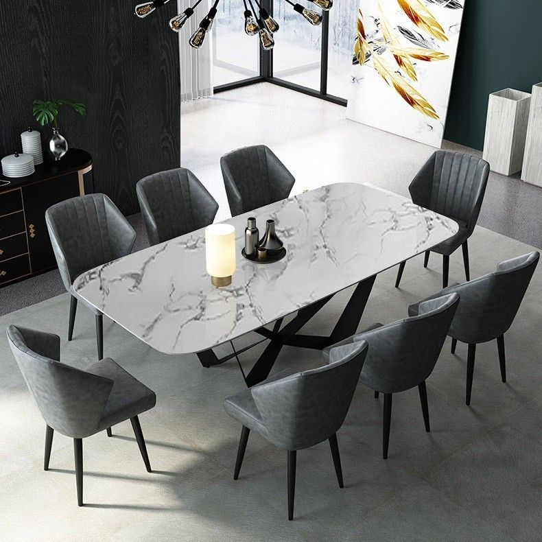 Modern Stylish Rectangle White Faux Marble Top Dining Table With Black Metal Base In Small Medium Large Marble Top Dining Table Dining Table Marble Dining Table Design Modern
