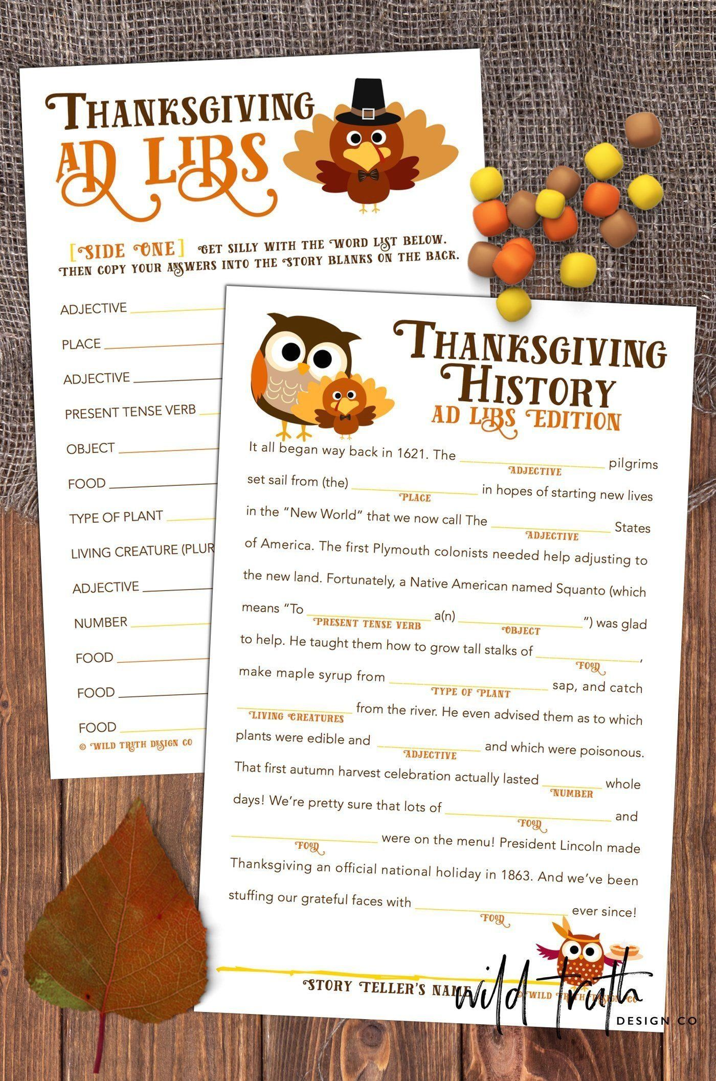 Thanksgiving Mad Libs Dinner Table Game School Party Game