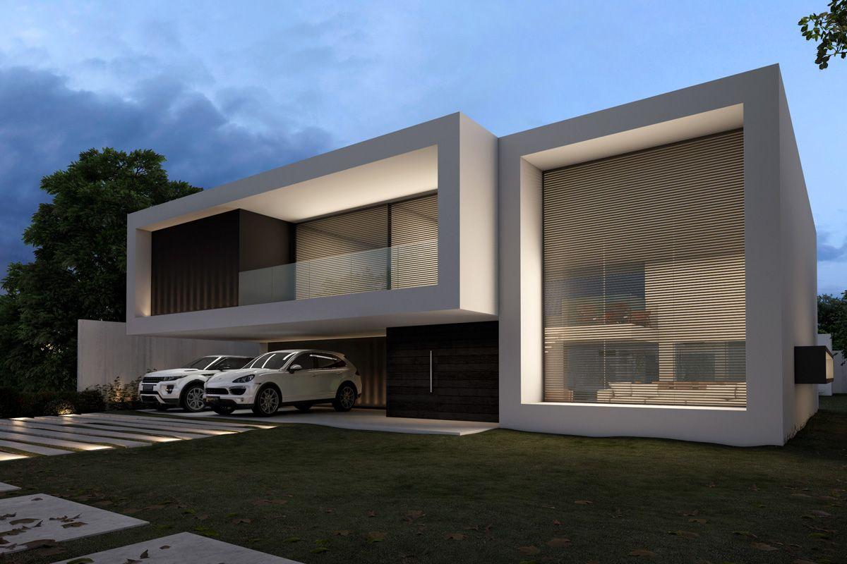 Casa fachada branca minimalista moderna decor salteado 12 for Plantas de oficinas modernas