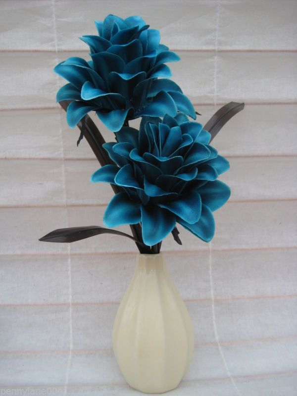 New Silk Flower Arrangement In Vaseteal Cream Ideal Gifthome