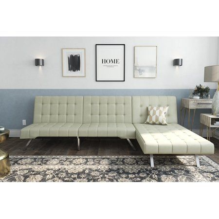 Remarkable Dhp Emily Sectional Futon Sofa Bed With Convertible Chaise Bralicious Painted Fabric Chair Ideas Braliciousco