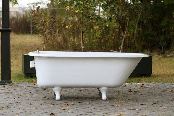White Refinished Antique Kohler 1964 5u0027 Roll Rim Cast Iron Porcelain  Clawfoot Bathtub